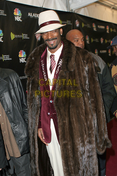 SNOOP DOGG.2005 Radio Music Awards - Arrivals held at the Aladdin Hotel, Las Vegas, Nevada..December 19th, 2005.Photo: Zach Lipp/AdMedia/Capital Pictures.Ref: ZL/ADM.half length brown fur coat white hat.www.capitalpictures.com.sales@capitalpictures.com.© Capital Pictures.