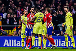 Samuel Umtiti of FC Barcelona (C) reacts with Diego Costa of Atletico de Madrid (L) during the La Liga 2018-19 match between Atletico Madrid and FC Barcelona at Wanda Metropolitano on November 24 2018 in Madrid, Spain. Photo by Diego Souto / Power Sport Images