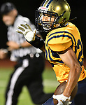 Althoff wide receiver Jordan Warner turns to see if he's being pursued as he runs in a touchdown. Mater Dei played football at Althoff on Friday September 13, 2019. <br /> Tim Vizer/Special to STLhighschoolsports.com