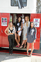 Marnie Simpson, Charlotte Crosby, Chloe Etherington and Holly Hagan at the launch of spoof political party 'The Geordie Party' at Speakers Corner, Hyde Park, London. 11/03/2015 Picture by: Steve Vas / Featureflash