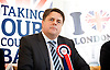 British National Party election manifesto launch for the May 3 London Assembly elections in East London, Great Britain <br /> 9th April 2012 <br /> <br /> <br /> Nick Griffin - chairman / leader of the BNP <br /> Photograph by Elliott Franks