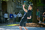 Duke first-year student Ethan Cheung, a world-class yoyo player performs in the Mezcla Cultural Showcase on the Abele Quad during Latino Student Recruitment Weekend.