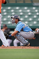 Tampa Bay Rays catcher Roberto Alvarez (91) awaits the pitch during an Instructional League game against the Baltimore Orioles on October 2, 2017 at Ed Smith Stadium in Sarasota, Florida.  (Mike Janes/Four Seam Images)