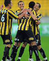 Phoenix captain Andrew Durante hugs Paul Ifill after his goal took the Nix 1-0 up. A-League football - Wellington Phoenix v Melbourne Heart at Westpac Stadium, Wellington on Wednesday, 24 November 2010. Photo: Dave Lintott / lintottphoto.co.nz