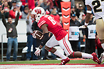 Wisconsin Badgers wide receiver Quintez Cephus (87) scores a touchdown during an NCAA College Football Big Ten Conference game against the Purdue Boilermakers Saturday, October 14, 2017, in Madison, Wis. The Badgers won 17-9. (Photo by David Stluka)