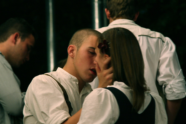 Two young lovers kiss during Oktoberfest in Munich, Germany. Oct. 2, 2007.