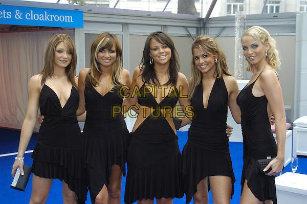 GIRLS ALOUD - NICOLA ROBERTS, NADINE, KIMBERLY, CHERYL TWEEDY, SARAH HARDING.Glamour Magazine's Women Of The Year Awards. Berkeley Square Gardens, London, W1.June 8th, 2004.half length, half-length, little black dress, cleavage, plunging necklines.www.capitalpictures.com.sales@capitalpictures.com.©Capital Pictures