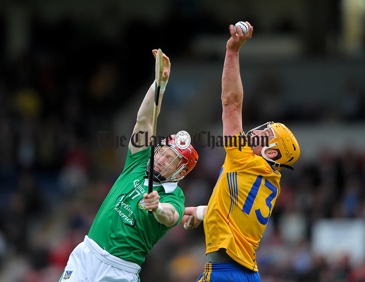 Shane O Neill of Limerick in action against John Conlon of Clare during their game at Semple Stadium. Photograph by John Kelly.