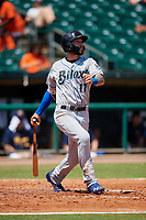Biloxi Shuckers third baseman Lucas Erceg (17) follows through on a swing during a game against the Montgomery Biscuits on May 8, 2018 at Montgomery Riverwalk Stadium in Montgomery, Alabama.  Montgomery defeated Biloxi 10-5.  (Mike Janes/Four Seam Images)