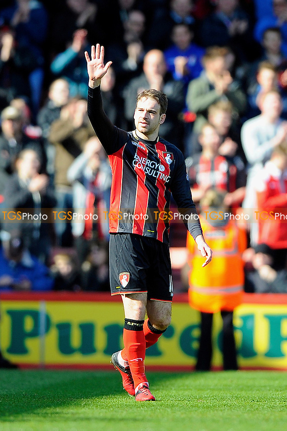 Brett Pitman of AFC Bournemouth salutes the crowd after scoring the third goal- AFC Bournemouth vs Middlesbrough - Sky Bet Championship Football at the Goldsands Stadium, Bournemouth, Dorset - 21/03/15 - MANDATORY CREDIT: Denis Murphy/TGSPHOTO - Self billing applies where appropriate - contact@tgsphoto.co.uk - NO UNPAID USE