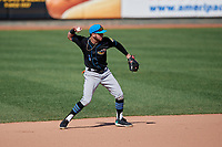 Akron RubberDucks second baseman Alexis Pantoja (1) throws to first base during an Eastern League game against the Erie SeaWolves on June 2, 2019 at UPMC Park in Erie, Pennsylvania.  Erie defeated Akron 8-5 in eleven innings of the second game of a doubleheader.  (Mike Janes/Four Seam Images)