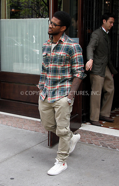 WWW.ACEPIXS.COM . . . . .  ....April 25 2012, New York City....Singer Usher leaves a downtown hotel on April 25 2012 in New York City....Please byline: Zelig Shaul - ACE PICTURES.... *** ***..Ace Pictures, Inc:  ..Philip Vaughan (212) 243-8787 or (646) 769 0430..e-mail: info@acepixs.com..web: http://www.acepixs.com