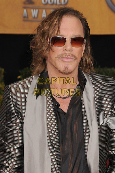MICKEY ROURKE .15th Annual Screen Actors Guild Awards held at the Shrine Auditorium,  Los Angeles, California, USA, .25 January 2009..SAG red carpet arrivals portrait headshot sunglasses grey gray shiny brown shirt suit jacket silver check checked gingham  beard facial hair .CAP/ADM/BP.©Byron Purvis/Admedia/Capital PIctures