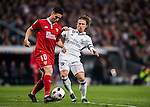 Samir Nasri (l) of Sevilla FC fights for the ball with Luka Modric of Real Madrid during their Copa del Rey Round of 16 match between Real Madrid and Sevilla FC at the Santiago Bernabeu Stadium on 04 January 2017 in Madrid, Spain. Photo by Diego Gonzalez Souto / Power Sport Images