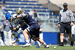 DURHAM, NC - APRIL 08: Notre Dame's P.J. Finley (right) pushes Duke's Kyle Rowe (left) away from the ball. The Duke University Blue Devils hosted the University of Notre Dame Fighting Irish on April 8, 2017, at Koskinen Stadium in Durham, NC in a Division I College Men's Lacrosse match. Duke won the game 11-8.