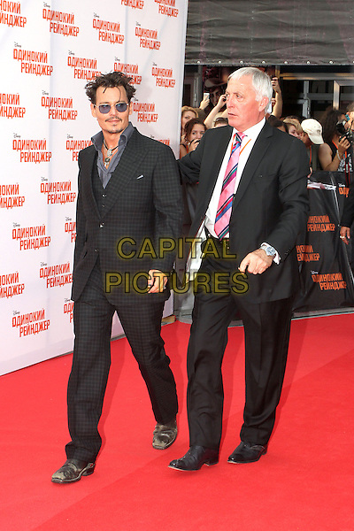 Johnny Depp<br /> 'The Lone Ranger' Russian Film Premiere, Moscow, <br /> Russia, June 27th 2013.<br /> full length  grey gray sunglasses blue tinted glasses shirt suit black necklace walking <br /> CAP/PER/VT<br /> &copy;VT/PersonaStars/CapitalPictures