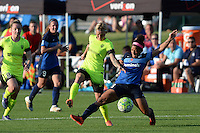 Kansas City, MO - Saturday June 25, 2016: Jessica Fishlock, Desiree Scott during a regular season National Women's Soccer League (NWSL) match at Swope Soccer Village.