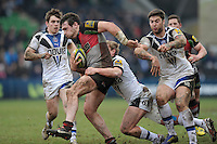 20130309 Copyright onEdition 2013©.Free for editorial use image, please credit: onEdition..Tom Guest of Harlequins is tackled by Michael Classens of Bath Rugby during the LV= Cup semi final match between Harlequins and Bath Rugby at The Twickenham Stoop on Saturday 9th March 2013 (Photo by Rob Munro)..For press contacts contact: Sam Feasey at brandRapport on M: +44 (0)7717 757114 E: SFeasey@brand-rapport.com..If you require a higher resolution image or you have any other onEdition photographic enquiries, please contact onEdition on 0845 900 2 900 or email info@onEdition.com.This image is copyright onEdition 2013©..This image has been supplied by onEdition and must be credited onEdition. The author is asserting his full Moral rights in relation to the publication of this image. Rights for onward transmission of any image or file is not granted or implied. Changing or deleting Copyright information is illegal as specified in the Copyright, Design and Patents Act 1988. If you are in any way unsure of your right to publish this image please contact onEdition on 0845 900 2 900 or email info@onEdition.com