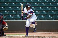 Yermin Mercedes (6) of the Winston-Salem Rayados at bat against the Potomac Nationals at BB&T Ballpark on August 12, 2018 in Winston-Salem, North Carolina. The Rayados defeated the Nationals 6-3. (Brian Westerholt/Four Seam Images)