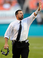 29 November 2008:  FIU Head Football Coach Mario Cristobal signals to his players during the FAU 57-50 overtime victory over FIU in the annual Shula Bowl at Dolphin Stadium in Miami, Florida.