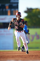 Batavia Muckdogs designated hitter Branden Berry (35) running the bases during a game against the Hudson Valley Renegades on August 2, 2016 at Dwyer Stadium in Batavia, New York.  Batavia defeated Hudson Valley 2-1. (Mike Janes/Four Seam Images)