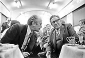 In the dining car on the train from Vladivostok, USSR to the airport on November 23, 1974, United States President Gerald R. Ford, left, discusses the progress on the Strategic Arms Limitation Talks (S.A.L.T.) agreement with United States Secretary of State Henry Kissinger, left.  Ford and Kissinger spent two days in talks with the leaders of the Union of Soviet Socialist Republics (U.S.S.R.).<br /> Mandatory Credit: David Hume Kennerly / White House via CNP