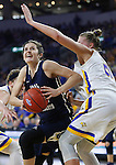 SIOUX FALLS, SD: MARCH 5: Maria Martianez #44 of Oral Roberts drives around Clarissa Ober #21 of South Dakota State during the Summit League Basketball Championship on March 5, 2017 at the Denny Sanford Premier Center in Sioux Falls, SD. (Photo by Dick Carlson/Inertia)