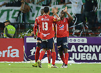 MEDELLIN-COLOMBIA- 22-10-2016. Juan Fernando Caicedo  jugador del Independiente Medellín celebra su gol contra el Atlético Nacional durante encuentro  por la fecha 17 de la Liga Aguila II 2016 disputado en el estadio Atanasio Girardot./ Juan Fernando Caicedo player of Independiente Medellin  ceebrates his goal against of Atletico Nacional  during match for the date 17 of the Aguila League II 2016 played at Atanasio Girardot stadium . Photo:VizzorImage / León Monsalve / Contribuidor
