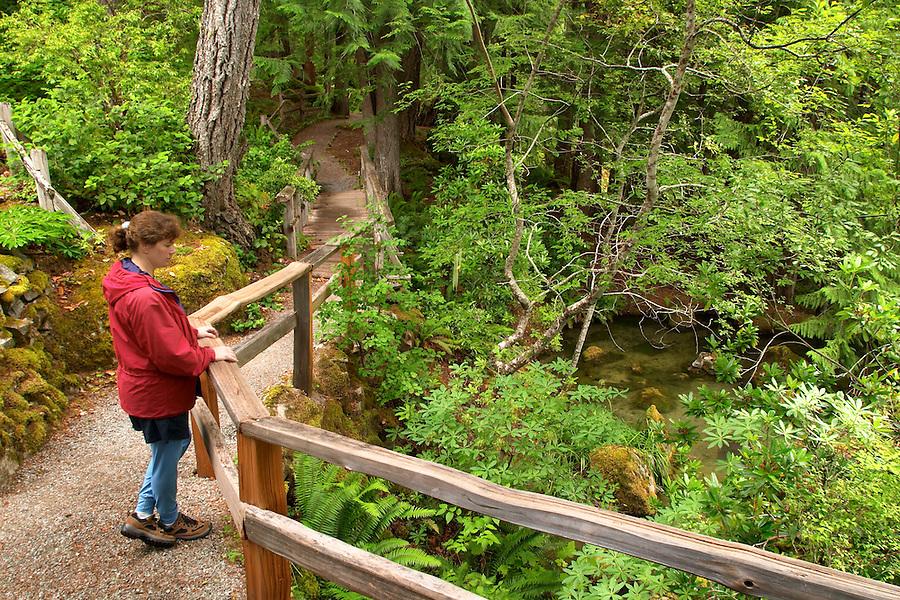 Woman in red jacket on Ladder Creek Falls Trail, Newhalem, Seattle City Light Company, Ross Lake National Recreation Area, Whatcom County, Washington, USA