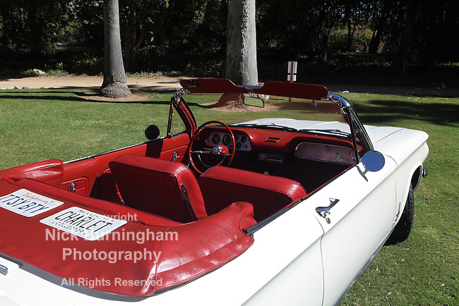 ARCADIA, CALIFORNIA, USA, SEPTEMBER 6, 2013. Spyders in the Garden car show at the Los Angeles Arboretum on September 6, 2013. INtroduced in 1962 the Chevrolet Corvair Spyder had a turbocharged flat 6 engine.