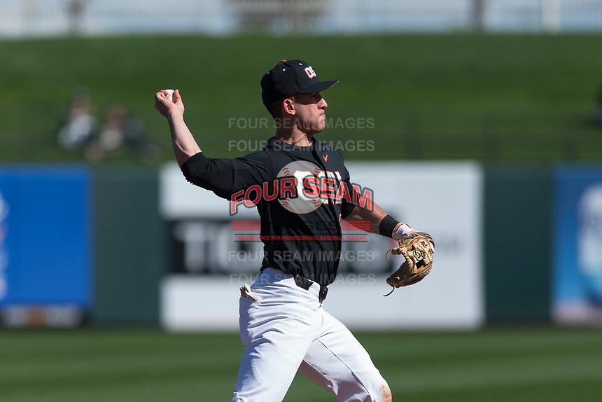 Oregon State Beavers shortstop Beau Philip (4) makes a throw to first base during a game against the Gonzaga Bulldogs on February 16, 2019 at Surprise Stadium in Surprise, Arizona. Oregon State defeated Gonzaga 9-3. (Zachary Lucy/Four Seam Images)