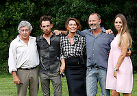 "Da sinistra, gli attori Antonio Catania, Elio Germano, Monica Guerritore, il regista Ivano De Matteo e l'attrice Victoria Larchenko posano durante un photocall per la presentazione del film ""La bella gente"" a Roma, 24 agosto 2015.<br /> From left, actors Antonio Catania, Elio Germano, Monica Guerritore, director Ivano De Matteo and actress Victoria Larchenko pose during a photocall for the presentation of the movie ""La bella gente"" in Rome, 24 August 2015.<br /> UPDATE IMAGES PRESS/Riccardo De Luca"