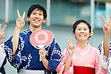 (L-R) Maharu Yoshimura, Homare Sawa, <br /> JULY 24, 2017 : <br /> Event for Tokyo 2020 Olympic and Paralympic games is held <br /> at Toranomon hills in Tokyo, Japan. <br /> &quot;Tokyo Olympic Ondo&quot; will be renewed as Tokyo Olympic Ondo - 2020 -&quot;.<br /> (Photo by Yohei Osada/AFLO SPORT)