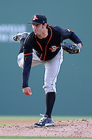 Pitcher Mark Blackmar (40) of the Delmarva Shorebirds in a game against the Greenville Drive on Monday, April 29, 2013, at Fluor Field at the West End in Greenville, South Carolina. Greenville won, 3-1. (Tom Priddy/Four Seam Images).