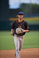 AZL Giants Black center fielder Grant McCray (40) jogs off the field between innings of an Arizona League game against the AZL Athletics Gold on July 12, 2019 at Hohokam Stadium in Mesa, Arizona. The AZL Giants Black defeated the AZL Athletics Gold 9-7. (Zachary Lucy/Four Seam Images)