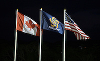 The flags of the participating nations fly over the stadium during the finals of the CONCACAF Men's Under 17 Championship at Catherine Hall Stadium in Montego Bay, Jamaica. The United States defeated Canada, 3-0, in overtime