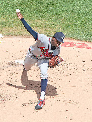 Atlanta Braves starting pitcher Tyrell Jenkins (61) works in the first inning against the Washington Nationals at Nationals Park in Washington, D.C. on Sunday, August 14, 2016.<br /> Credit: Ron Sachs / CNP/MediaPunch