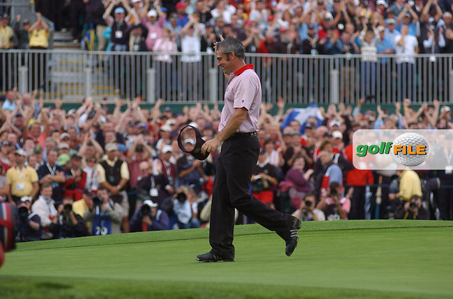 24th September, 2006. European Ryder Cup Team player Paul McGinley leaves the 16th green during the singles final session of the last day of the 2006 Ryder Cup at the K Club in Straffan, County Kildare in the Republic of Ireland..Photo: Barry Cronin/ Newsfile.