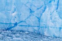Blue ice creates geometric patterns in Glacier Perito Moreno in Parque Nacional los Glaciares, Argentina.