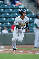 Ivan Castillo (2) of the Lynchburg Hillcats starts down the first base line against the Winston-Salem Dash at BB&T Ballpark on April 28, 2016 in Winston-Salem, North Carolina.  The Dash defeated the Hillcats 4-1.  (Brian Westerholt/Four Seam Images)
