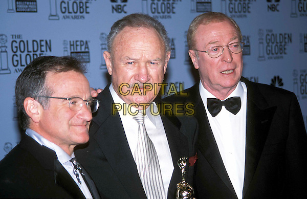 ROBIN WILLIAMS, GENE HACKMAN & MICHAEL CAINE.60th Golden Globe Awards.Ref: ND.headshot, portait, mustache, bow tie, glasses.www.capitalpictures.com.sales@capitalpictures.com.Supplied by Capital Pictures.