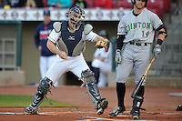 Cedar Rapids Kernels catcher A.J. Murray (25) tags Clinton batter after a strike out during the game against the Clinton LumberKings at Veterans Memorial Stadium on April 14, 2016 in Cedar Rapids, Iowa.  The Kernels won 7-3.  (Dennis Hubbard/Four Seam Images)