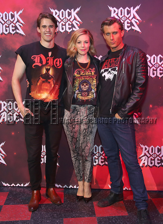 """CJ Eldred, Kirsten Scott and PJ Griffith during the tech rehearsal for """"Rock of Ages"""" 10th Anniversary Production on June 13, 2019 at the New World Stages in New York City."""