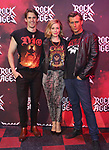 "CJ Eldred, Kirsten Scott and PJ Griffith during the tech rehearsal for ""Rock of Ages"" 10th Anniversary Production on June 13, 2019 at the New World Stages in New York City."