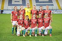 20190227 - LARNACA , CYPRUS : Henrietta Csiszar (3) , Reka Szocs (1) , Zsanett Jakabfi (13) , Lilla Turanyi (20) , Viktoria Szabo (8) , Evelin Fenyvesi (6) , Evelin Mosdoczi (14) , Anita Pinczi (2) , Zsanett Kajan (23) , Dora Zeller (19) , Zsofia Racz (15)  - Hungarian team pictured during a women's soccer game between Thailand and Hungary , on Wednesday 27 February 2019 at the Antonis Papadopoulos Stadium in Larnaca , Cyprus . This is the first game in group B for both teams during the Cyprus Womens Cup 2019 , a prestigious women soccer tournament as a preparation on the FIFA Women's World Cup 2019 in France and the Uefa Women's Euro 2021 qualification duels. PHOTO SPORTPIX.BE | STIJN AUDOOREN