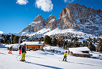 Italien, Suedtirol (Trentino - Alto Adige), Groednertal oberhalb von Wolkenstein an der Sellajoch Passstrasse:  Skipiste und Skihuette Malga Sella vorm Langkofel (3.181 m) | Italy, South Tyrol (Trentino -Alto Adige) above Selva di Val Gardena at Passo Sella: ski run and ski hut Malga Sella with Sassolungo mountain (3.181 m)