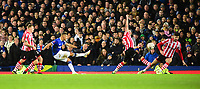 Everton's Richarlison shoots at goal under pressure from Lincoln City's Lee Frecklington, centre, and Lincoln City's Ellis Chapman<br /> <br /> Photographer Andrew Vaughan/CameraSport<br /> <br /> Emirates FA Cup Third Round - Everton v Lincoln City - Saturday 5th January 2019 - Goodison Park - Liverpool<br />  <br /> World Copyright &copy; 2019 CameraSport. All rights reserved. 43 Linden Ave. Countesthorpe. Leicester. England. LE8 5PG - Tel: +44 (0) 116 277 4147 - admin@camerasport.com - www.camerasport.com