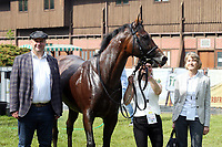 13th June 2020, Dresden, Saxony, Germany, State horse racing;  Namwith Lord Mayor Dirk Hilbert and owner Petra Stucke after winning the Grand Prix of the state capital Dresden