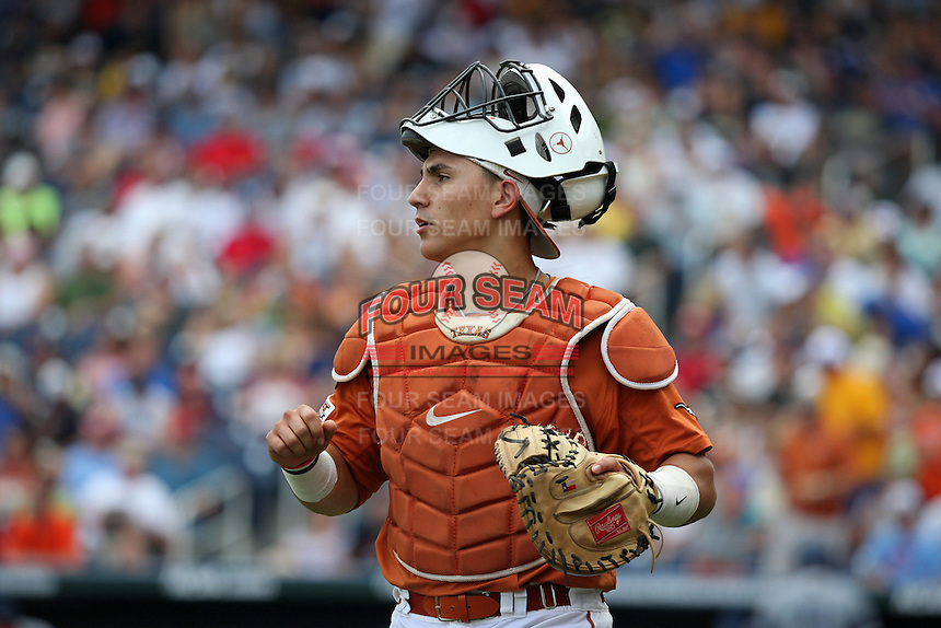 Tres Barrera #1 of the Texas Longhorns looks on during Game 1 of the 2014 Men's College World Series between the UC Irvine Anteaters and Texas Longhorns at TD Ameritrade Park on June 14, 2014 in Omaha, Nebraska. (Brace Hemmelgarn/Four Seam Images)