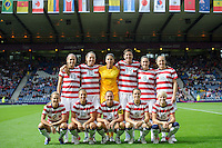 Glasgow, Scotland - Saturday, July 28, 2012: Starting eleven of the USA Women's soccer team during a 3-0 win over Colombia in the first round of the Olympic football tournament at Hamden Park.